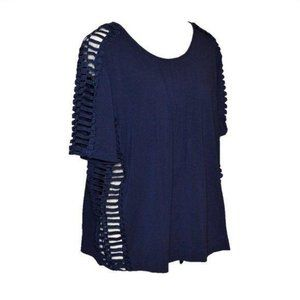 Alberto Makali Navy Lattice Trim Tee